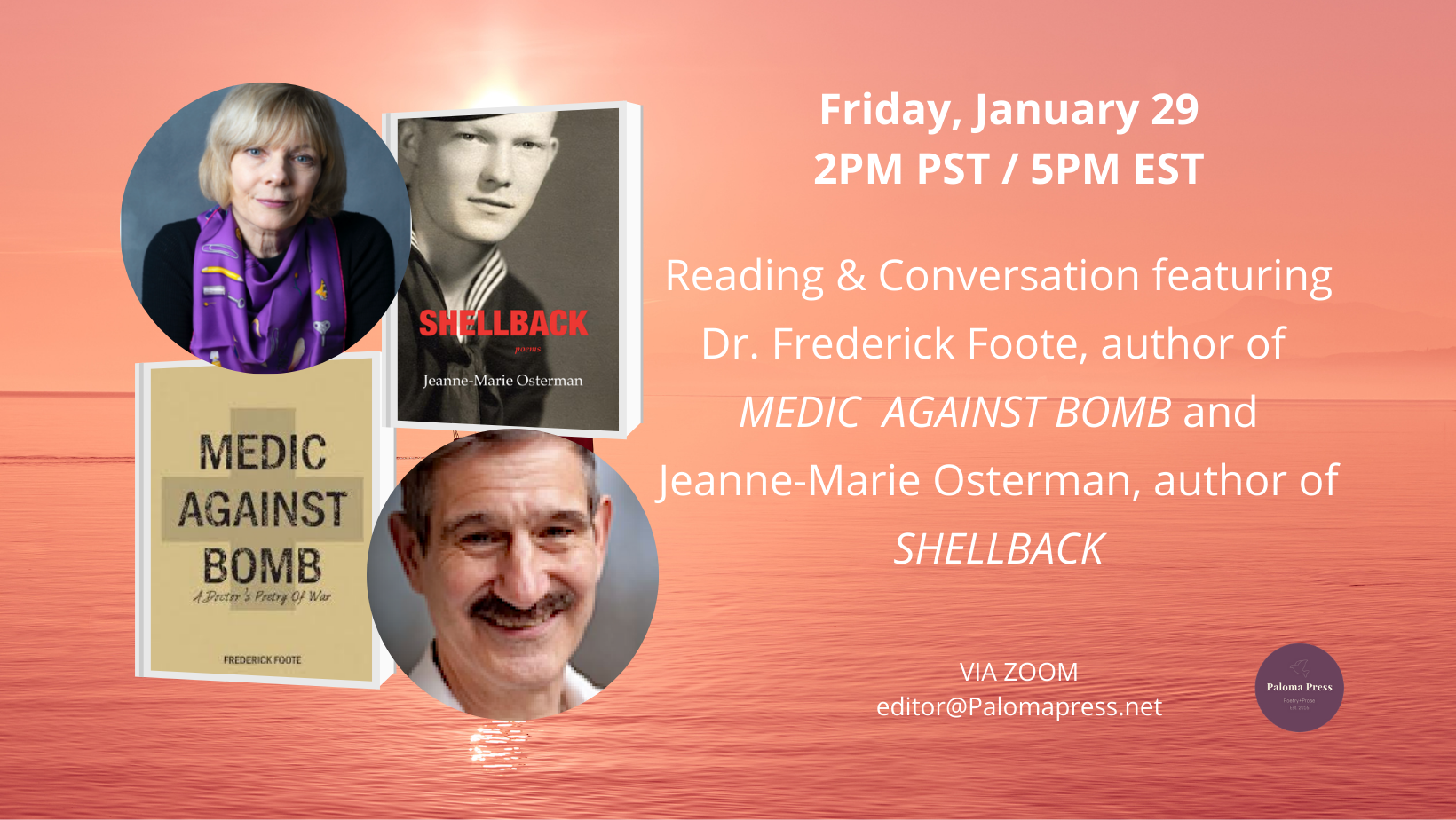 Reading & Conversation featuring Dr. Frederick Foote, author of MEDIC AGAINST BOMB and Jeanne-Marie Osterman, author of SHELLBACK